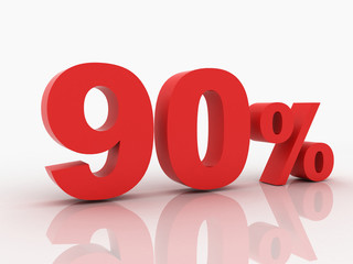 3d rendering of a 90 percent discount in red letters on a white