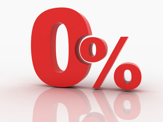 3d rendering of a 0 percent discount in red letters on a white b