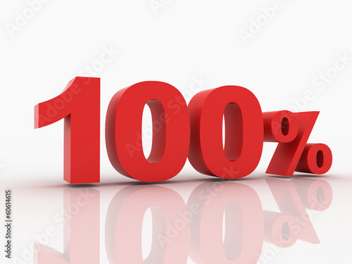 3d rendering of a 100 percent discount in red letters on a white
