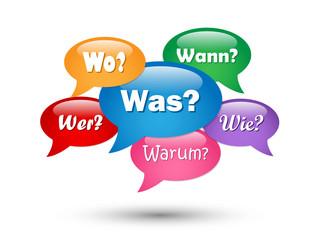 FRAGEN SPRECHBLASEN (Textblasen Was Warum Wie Wer Wann Wo)