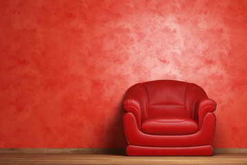Modern interior with red armchair