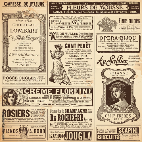 background/patterns made of vintage french ads on ladies' topics