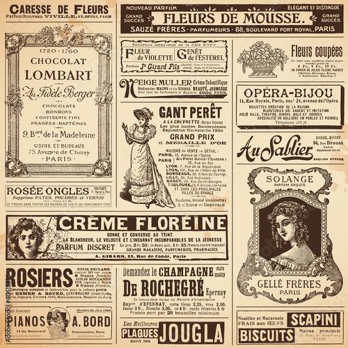 Hintergrund / Muster aus Vintage-Französisch Anzeigen auf Damen Themen