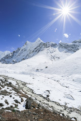 glacier beside of everest basecamp from everest trek