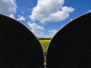 Zipper and rural spring landscape