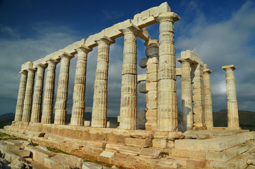 Poseidon temple in Sounio cape Greece