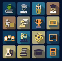 color school and education icons set