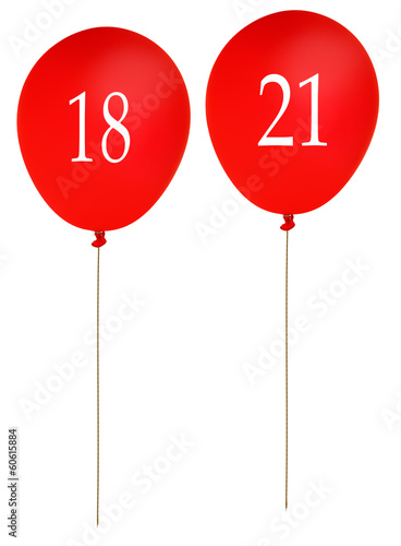 Birthday balloons 18 and 21, red isolated over white