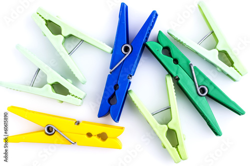 Group of various clothespins isolated