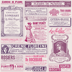 background/pattern made of vintage french ads on ladies' topics