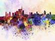 Quadro Milan skyline in watercolor background