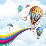 Colorful hot air balloon with silhouette background