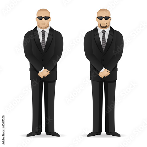 Bodyguard stands in closed pose
