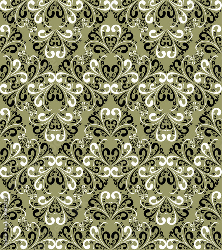 Seamless damask floral Wallpaper with black-white Ornament.