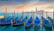 gondolas at dusk
