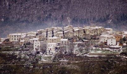 Snowy village in Abruzzo Italy