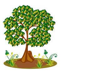 Дерево с желтыми и зелеными листьями.