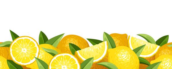Horizontal seamless background with lemons. Vector illustration.