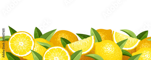 Horizontal seamless background with lemons. Vector illustration.