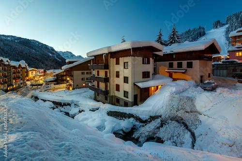 Foto op Canvas Illuminated Ski Resort of Madonna di Campiglio in the Morning, I