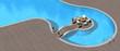 islet in a beautiful swimming pool