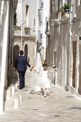 Married couple after wedding in south of italy