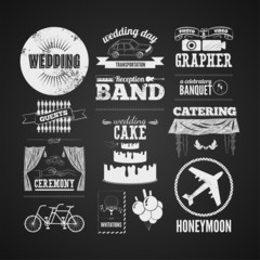 Set of wedding vintage typographic design elements