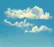 Blue sky with clouds. Vector retro background