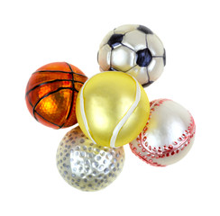 Sports Christmas Ornaments On White Background