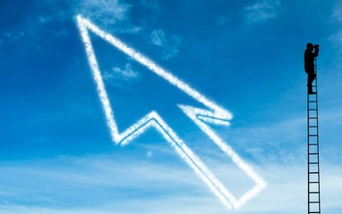 Composite image of white arrow in the sky