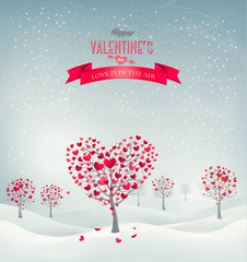 Holiday retro background. Valentine trees with heart-shaped leav
