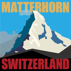 Mount Matterhorn adventure background, vector illustration