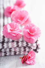 pink flowers and towel for spa