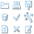 Document icons, light blue contour