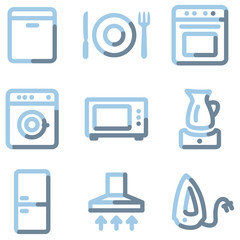 Home appliances icons, light blue contour