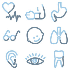 Medicine icons, light blue contour