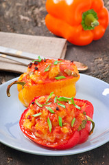 Peppers stuffed with potatoes and sausage