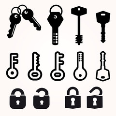 Icon Key, Black Silhouette Vector, decorative items
