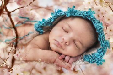 Newborn, Baby, schläft, Frühling, Blüten