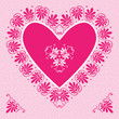 vector pink Valentine's Day Card with flower hearts