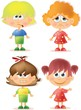 Постер, плакат: Симпатичные девушки мультфильм с разными эмоциями