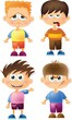 Постер, плакат: Симпатичные мальчики мультфильм с разными эмоциями