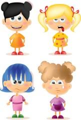 Симпатичные девушки мультфильм с разными эмоциями