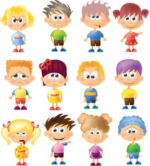 Милые дети мультфильм с разными эмоциями