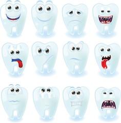 Мультфильм милый зубы с разными эмоциями