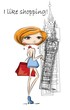 Постер, плакат: Мода девушка в Лондоне вектор фон