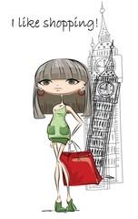 Мода девушка в Лондоне, вектор фон