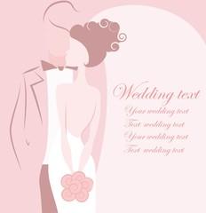 Силуэт жениха и невесты, фон, приглашение на свадьбу, вектора