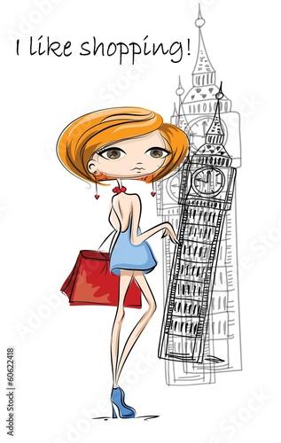 Постер, плакат: Мода девушка в Лондоне вектор фон, холст на подрамнике