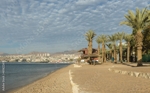 Golden beach in Eilat - famous resort in Israel